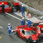 Most expensive exotic car crash made up by eight Ferraris, a Lamborghini, and three Mercedes