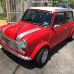 Unique Red Mini Cooper With Silver Bonnet Stripes